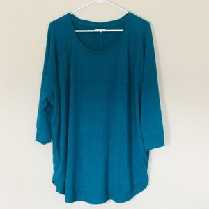 Maurices plus size 3 teal 3/4 sleeve top
